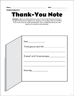 thank you note reading response graphic organizer