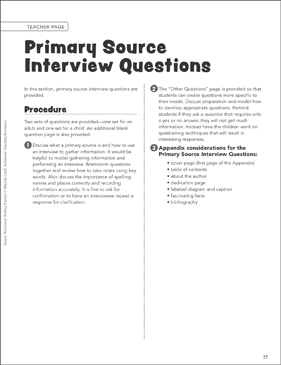 Primary Source Interview Questions: Writing Frame - Printable Worksheet