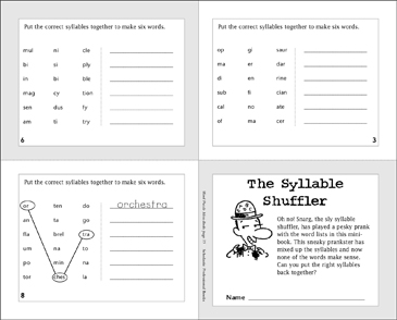 photo relating to Syllable Games Printable identify The Syllable Shuffler Printable Mini-Textbooks, Video games and Puzzles