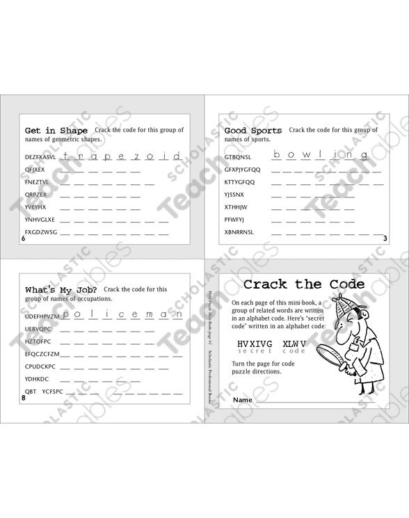 photo relating to Printable Code Cracker Puzzles called Split the Code Printable Mini-Publications, Online games and Puzzles