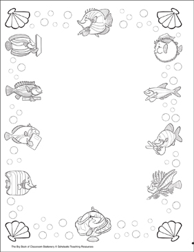 School of Fish: Stationery (With or Without Lines) - Printable Worksheet