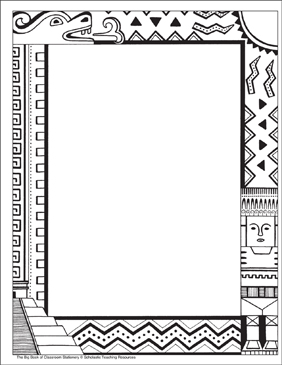 The Aztecs: Stationery (With or Without Lines) - Printable Worksheet