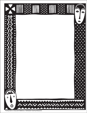 Africa: Stationery (With or Without Lines) - Printable Worksheet