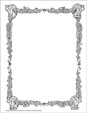 Middle Ages: Stationery (With or Without Lines) - Printable Worksheet