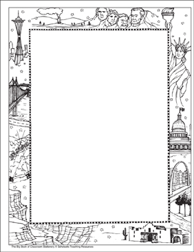 U.S. Landmarks: Stationery (With or Without Lines) - Printable Worksheet