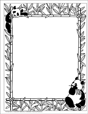 Pandas: Full-Page & Tri-Fold Stationery - Printable Worksheet