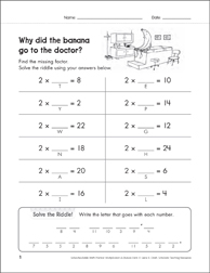 Solve-the-Riddle 2 (Multiplication) - Printable Worksheet