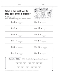 Solve-the-Riddle 13 (Multiplication) - Printable Worksheet