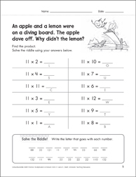 Solve-the-Riddle 19 (Multiplication) - Printable Worksheet