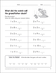 Solve-the-Riddle 23 (Multiplication) - Printable Worksheet
