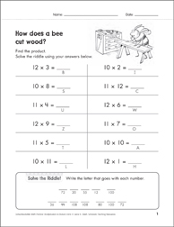 Solve-the-Riddle 29 (Multiplication) - Printable Worksheet
