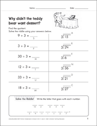 Solve-the-Riddle 37 (Division) - Printable Worksheet