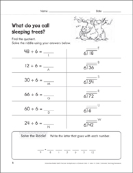 Solve-the-Riddle 40 (Division) - Printable Worksheet
