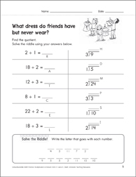 Solve-the-Riddle: Division - 1's, 2's, 3's - Printable Worksheet