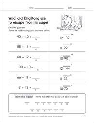Solve-the-Riddle: Division - 10's, 11's, 12's - Printable Worksheet