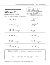 Solve-the-Riddle: Multiplication & Division - 1's to 6's - Printable Worksheet