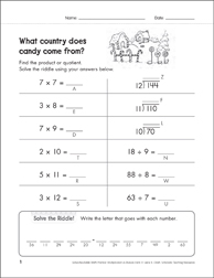 Solve-the-Riddle: Multiplication & Division - 7's to 12's - Printable Worksheet