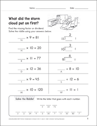 Solve-the-Riddle: Multiplication & Division - With Missing Factors and Dividends: 9's to 12's - Printable Worksheet