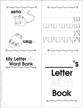 The Letter Mm: Interactive Alphabet Mini-Book - Printable Worksheet