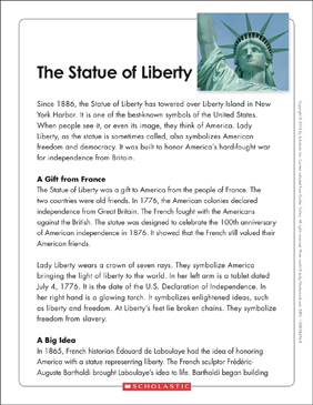 The Statue of Liberty: Text & Organizer - Printable Worksheet