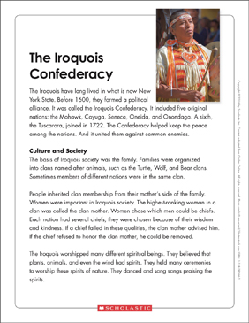 The Iroquois Confederacy: Text & Organizer - Printable Worksheet