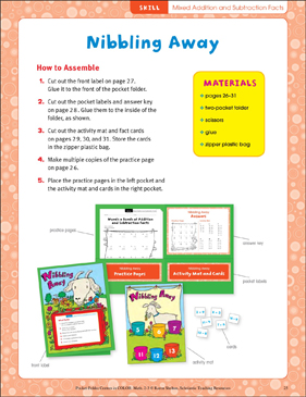 Nibbling Away (Mixed addition and subtraction facts): Pocket-Folder Center - Printable Worksheet