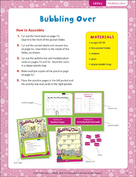 Bubbling Over (Multiplication): Pocket-Folder Center - Printable Worksheet