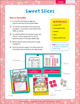 Sweet Slices (Fractions): Pocket-Folder Center - Printable Worksheet