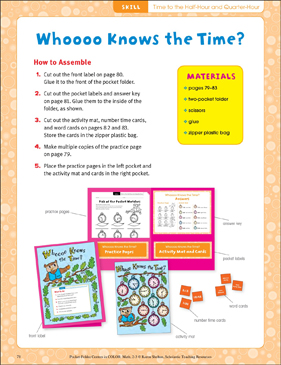 Whooo Knows the Time? (Time to the half-hour and quarter hour): Pocket-Folder Center - Printable Worksheet