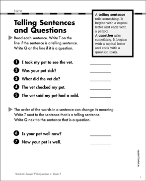 Telling Sentences and Questions: Grammar Practice - Printable Worksheet