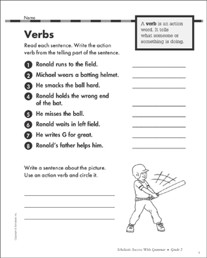 Verbs: Grammar Practice - Printable Worksheet