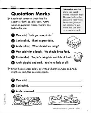 quotation marks grammar practice printable test prep tests and skills sheets. Black Bedroom Furniture Sets. Home Design Ideas