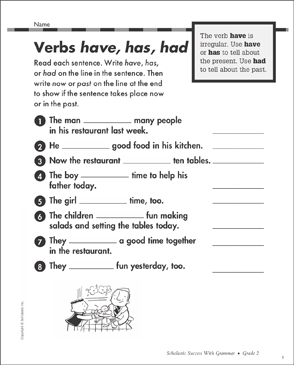 Verbs: have, has, had: Grammar Practice | Printable Test Prep, Tests