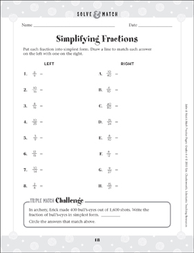 Simplifying Fractions - Printable Worksheet