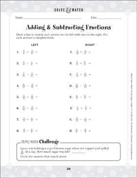 Adding & Subtracting Fractions - Printable Worksheet