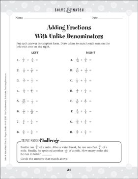 Adding Fractions With Unlike Deminonators - Printable Worksheet