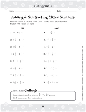 Adding & Subtracting Mixed Numbers - Printable Worksheet