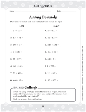 Adding Decimals - Printable Worksheet