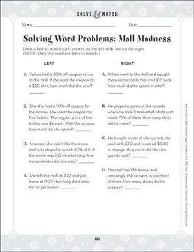 Mall Madness Word Problem - Printable Worksheet