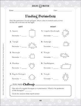 Finding Perimeters - Printable Worksheet