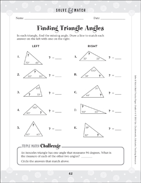Finding Triangle Angles - Printable Worksheet