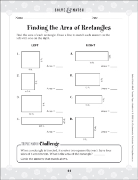 Finding the Area of Rectangles - Printable Worksheet