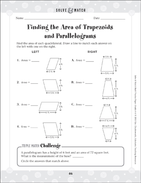 Finding the Area of Trapezoids and Parallelograms - Printable Worksheet