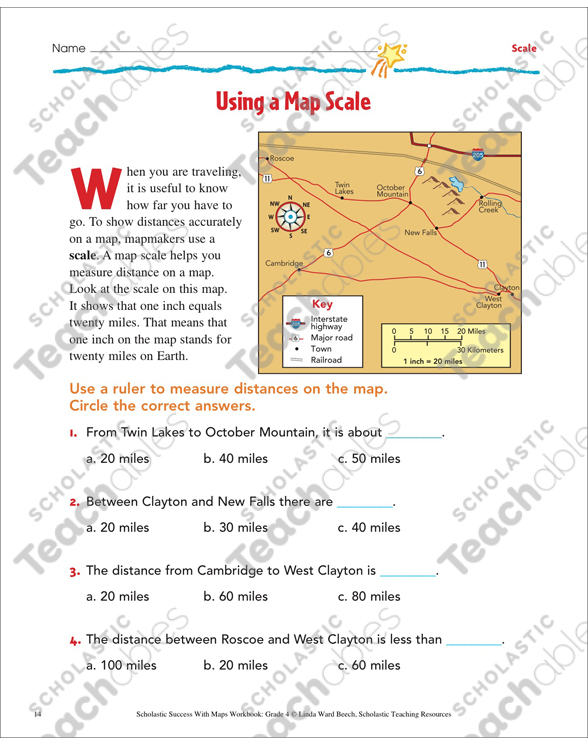 Using A Map Scale Map Skills Printable Maps And Skills Sheets