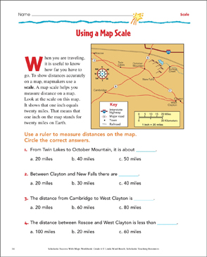 Using a Map Scale: Grade 4 Map Skills | Printable Maps and