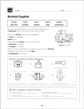 British English: Grade 6 Vocabulary | Printable Skills Sheets
