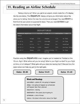 Reading an Airline Schedule: Life Skills - Printable Worksheet