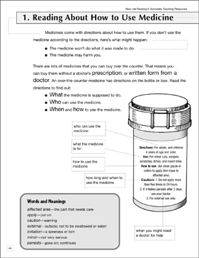 Reading About How to Use Medicine: Life Skills - Printable Worksheet
