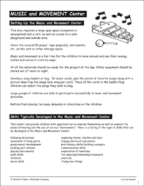Music and Movement Center: PreK Learning Centers - Printable Worksheet
