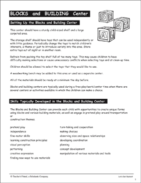 Blocks and Building Center: PreK Learning Centers - Printable Worksheet